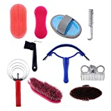 Wchiuoe 10Pcs Horse Grooming Care Kit Equestrain Brush Curry Comb Horse Cleaning Tool Set