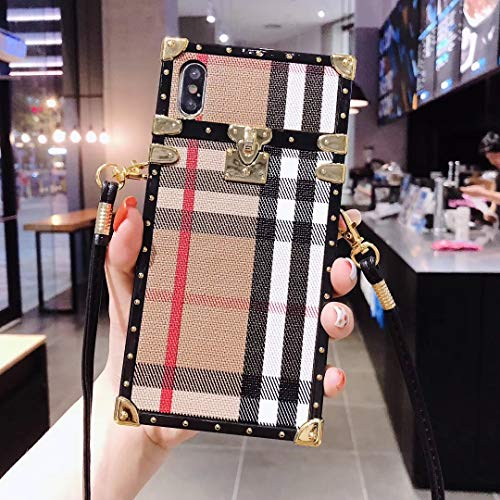Boozuk iPhone 6/6S Plus Trunk Case, Luxury Stylish PU Leather Vintage Check Style Anti-Slip Scratch Resistant Shockproof Case with Crossbody Strap for Apple iPhone 6/6S Plus 5.5'