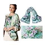 高品質シルクスカーフ、絹のスカーフ、100% シルク、不透明の長いスカーフ、デジタル描画、長方形の175cm x 52cm、14色の選択、真丝围巾 (緑のユリの花)