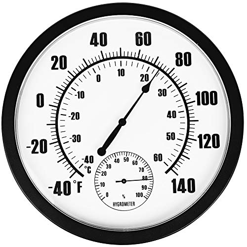 """PandaCoCo 10"""" Indoor Outdoor Weather Thermometer / Hygrometer for Patio, Wall Decorative, No Battery Needed"""