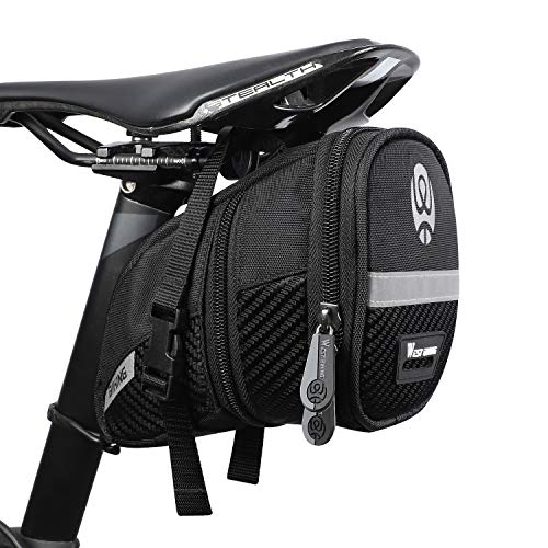 WESTGIRL Bike Saddle Bag, Bicycle Storage Bag Under Seat Tail Pouch Waterproof, Mountain Road Bike Rear Bag with Reflective Stripes, Quick Release Bike Repair Tools Pocket Pack, Cycling Accessories
