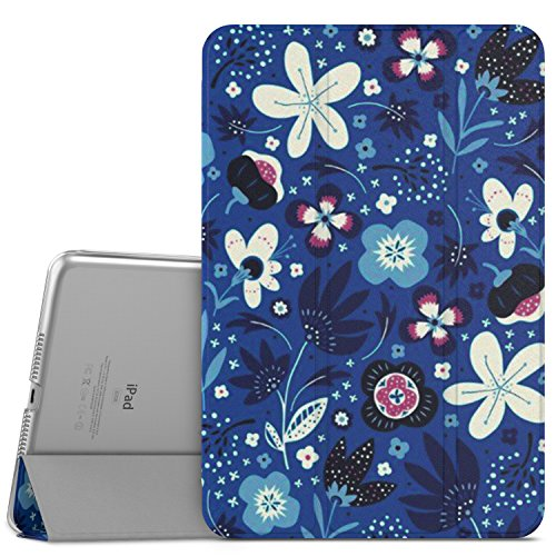 """MoKo Case Fit iPad Mini 4 - Slim Lightweight Smart Shell Stand Cover with Translucent Frosted Back Protector Fit iPad Mini 4 7.9"""" 2015 Release Tablet, Blue Flowers (with Auto Wake/Sleep)"""