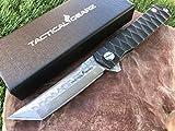 Damascus! TG Saint XT, Full Tc4 Titanium Handle! VG10 Damascus Tanto Blade! Premium EDC Folding Knife! Fast Ball Bearing System! (Dark XT)