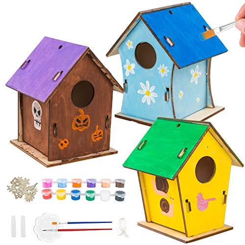 3 STK DIY Vogelhaus Bausatz, Hängend Bird House aus Holz mit 12 Farben, 2 Stifte, 20 PCS Holzdekorteilen, Kreativ Basteln Vogel Haus für Kinder Jungen Mädchen