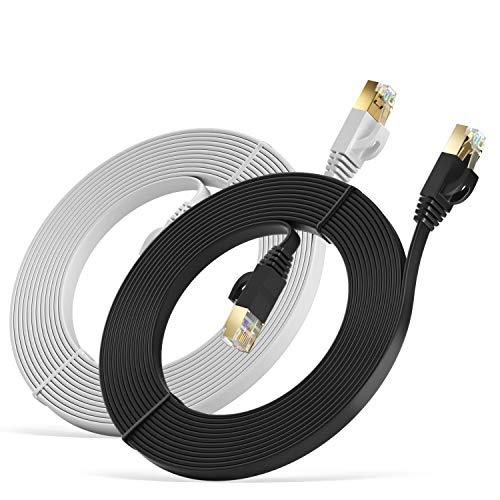 MutecPower 5m 2 Pack Cables de Red Ethernet Ultra Plano Cat 7 con enchufes RJ45 Cable Delgado Patch LAN Latiguillo - Cables de 5 Metros Negro y Blanco con Bridas y Clips