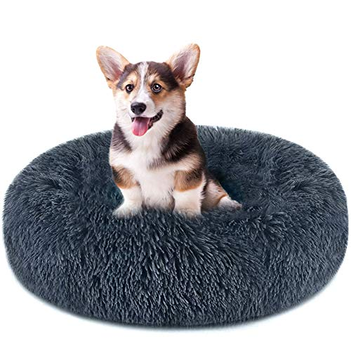 Dog Bed & Cat Bed, Anti-Anxiety Donut Dog Cuddler Bed, Warming Cozy Soft Dog Round Bed, Fluffy Faux Fur Plush Dog Cat Cushion Bed for Small Medium Dogs and Cats M(23.6' DX7.9 H) Dark Blue