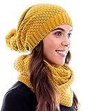 Hilltop Winter Kombi Set aus Winter Schal und passender Strickmütze/Beanie mit Pompon/versch. Designs, Winter Set:Curry