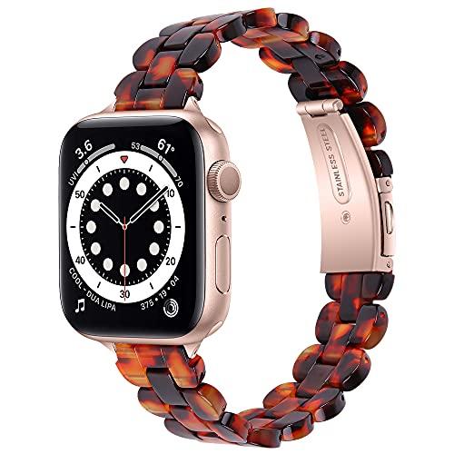 CHENPENG Correa de Resina Compatible con Apple Watch Series 6/5/4/3/2/1 / SE Moda Pulsera de Resina Pulsera Pulsera Cierre de Metal Correa de Repuesto,E,38/40MM