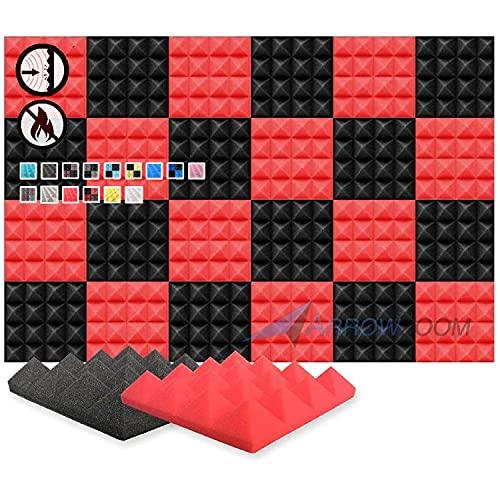 Arrowzoom 24 Paneles acustico absorción sonido Pirámide 25x25x5cm Espuma acústica aislamiento acustico estudio de grabación Casas Estudios Azulejos Incombustibles Insonorizados Negro Rojo