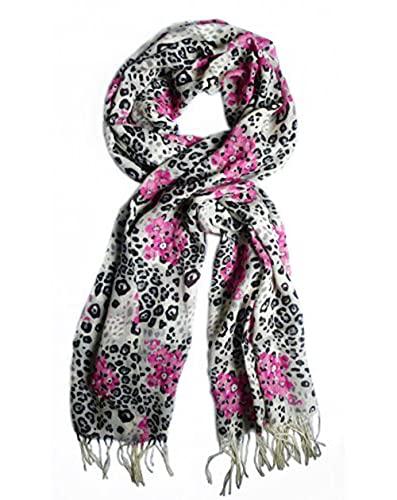 Schal aus 100% Wolle, 200 cm x 70 cm; Farbe: rosa, schwarz, grau und beige.