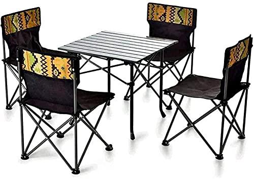 FCPLLTR Silla de acampada ultraligero Pliegue, traje de camping al aire libre Mesas portátiles y sillas de aleación de aluminio Cinco piezas Set Silla de playa de ocio, adecuado para la playa, al aire