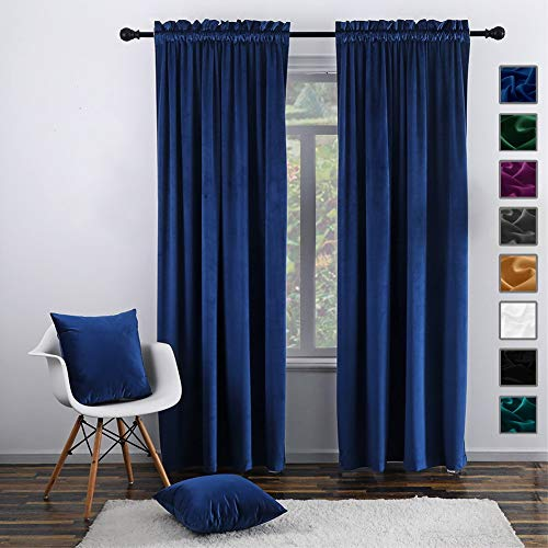 """Twin Six Super Soft Blackout Velvet Curtains with 2 Pillow Case,Thermal Insulated Solid Heavy Rod Pocket Window Drapes for Living Room (Navy Blue, 52""""x84"""",2 Panels)"""