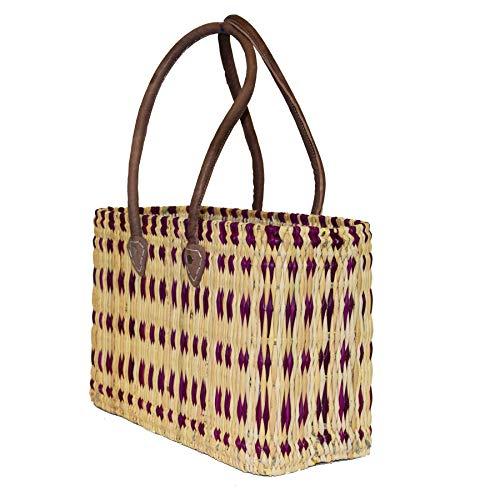 Einkaufskorb aus Seegras I geflochtene Tasche mit Ledergriff I mittlere Größe mit langem Griff I lila