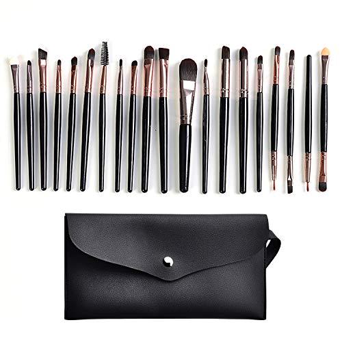 20 Packungen Make-up Pinsel Set.Premium Synthetische Foundation Pinsel, die für Gesichtspuder, Rouge, Lidschatten und Eyeliner verwendet werden kann (Kostenlose PU Aufbewahrungstasche) (Schwarz)
