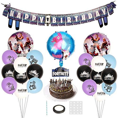 Herefun Spiel Video Gaming Partyzubehör Set, Geburtstagsfeier Party Gamer Zubehör Aluminiumfolienballons Einladungskarte Alpaka-Banner-Geburtstagsflagge für Spielliebhaber Jungen Geburtstagsfeier