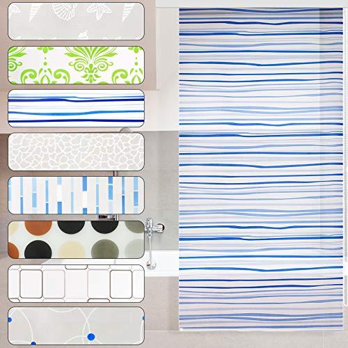 Modernes Duschrollo Lines mit Kassette | schnelltrocknendes Rollo für Dusche und Badewanne | bis zu 240 cm Länge ausziehbar | zahlreiche Breiten wählbar (Breite 80 cm)