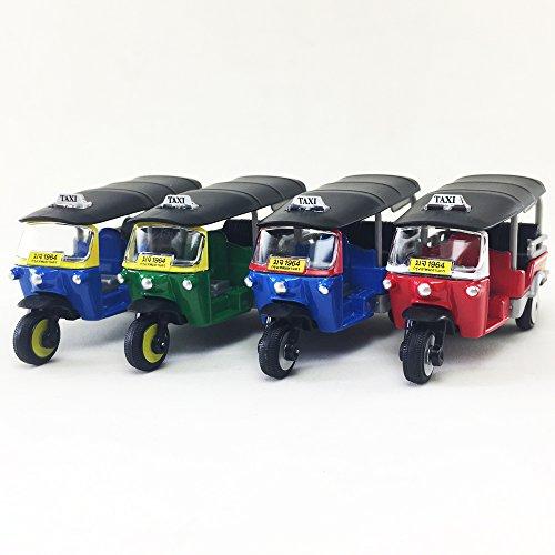 LOT 4 2017 Tuk Tuk Thai Open Air Taxi Red/Blue/Green/Blue Color Majorette 1:60 Diecast Model Toy Car Collectible Souvenirs Gift Miniature Decorative Bangkok Thailand