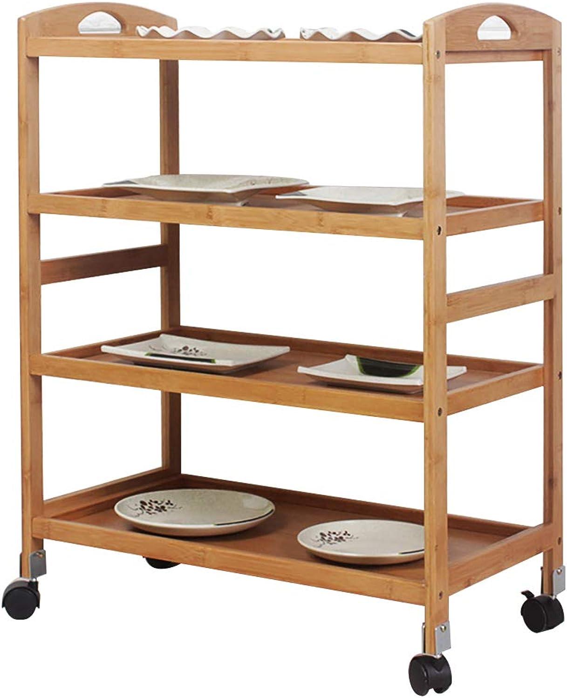 Soges Storage Kitchen Cart Serving Bar Cart Utility Trolley Organizer Rack 4 Shelves Living Room, Bathroom, Bamboo, KS-ZC-07