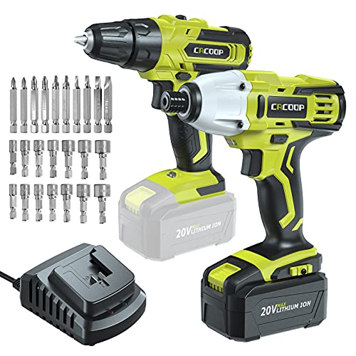 CACOOP 20V Cordless Drill and Impact Driver Combo Kit,Battery Powered Electric Tools Set with 4.0Ah Battery and Fast Charer (2-Tool,3/8 Drill,1/4 Impact Driver)