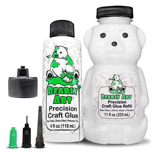 Bearly Art Precision Craft Glue -The Bundle - 4fl oz and 11fl oz Refill Bear - Tip Kit Included - Wrinkle Resistant - Flexible and Crack Resistant - Strong Hold Adhesive - Made in USA