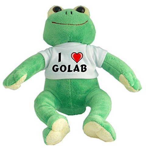 Rana de peluche con Amo Golab en la camiseta (nombre de pila/apellido/apodo)