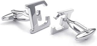 Honey Bear Cufflinks For Mens - Initial Alphabet 26 Letters A-Z Silver Wedding Formal Business Gift (A) (E)