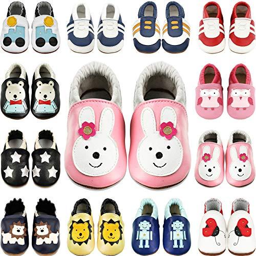 BAOLESEM Baby Lauflernschuhe Jungen Krabbelschuhe Mädchen Weicher Leder Kleinkind Babyhausschuhe Rutschfesten Wildledersohlen, Pink Kaninchen, 12-18 Monate