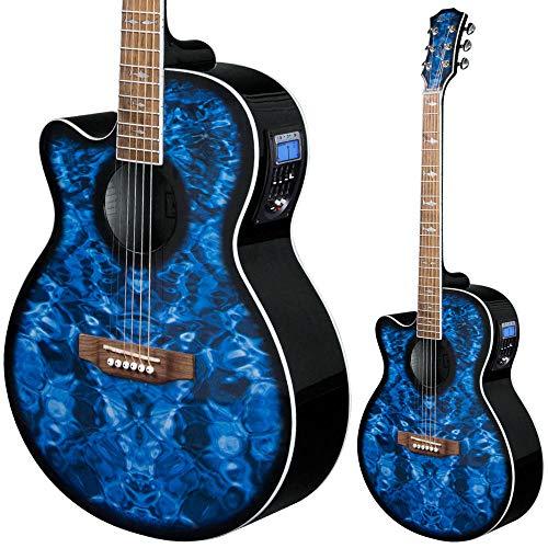 Lindo - Guitarra electroacústica para zurdos, diseño de tiburón azul con preamplificador activo, sintonizador digital, XLR/Jack y bolsa acolchada