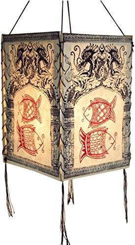 Guru-Shop Lokta Papier Hänge Lampenschirm, Deckenleuchte aus Handgeschöpftem Papier - Drachen Fische Weiß, Lokta-Papier, 28x18x18 cm, Asiatische Deckenlampen aus Papier & Stoff