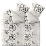 CelinaTex Fashion Fancy Bettwäsche 135 x 200 cm 4teilig Baumwolle Blumen Weiß Schwarz Grau