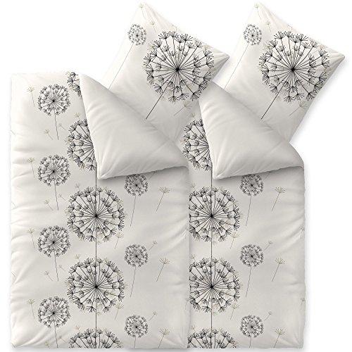 CelinaTex Fashion Bettwäsche 135x200 cm 4teilig Baumwolle Fancy Blumen Weiß Schwarz Grau