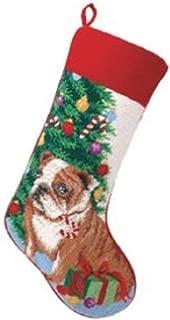 Peking Handicraft Brown English Bulldog Dog Wool Needlepoint Christmas Stocking, 11 x 18 Inch,Multicolored