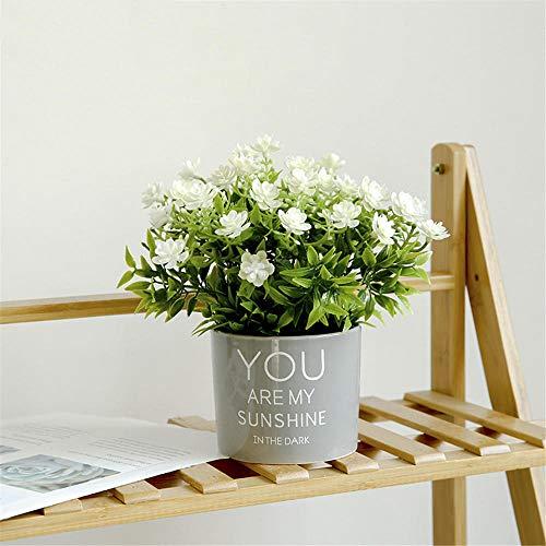 Yeslln Bonsai Artificial Árboles Plantas Artificiales Bonsái Decorativo Gardenia Flor Blanca