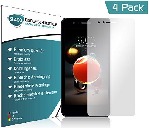 Slabo 4 x Bildschirmschutzfolie für LG K9 Bildschirmfolie Schutzfolie Folie Zubehör Crystal Clear KLAR - unsichtbar Made IN Germany