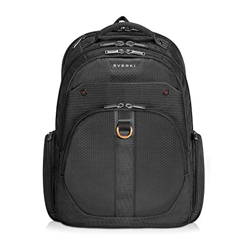 EVERKI Atlas Travel Friendly Laptop Backpack, 11-Inch to 15.6-Inch Adaptable Compartment (EKP121S15), Black