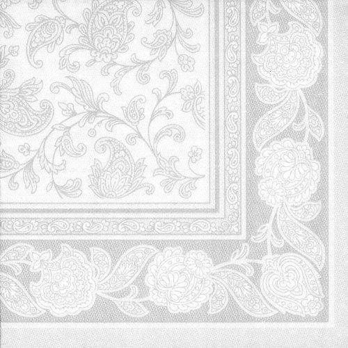 """Papstar Servietten / Tissueservietten weiß """"Royal Collection"""", """"Ornaments"""" (50 Stück) 40 x 40 cm, 1/4-Falz, für Gastronomie, Feste und Haushalt, Stoffoptik, #11682"""