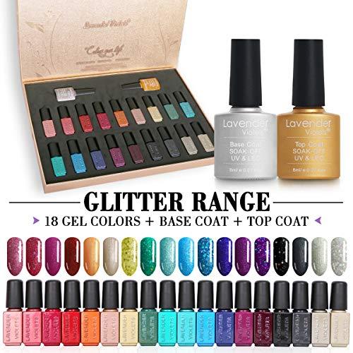 UV-Gel-Nagellack 20 PCS Soak Off Gel Nail Polish Set Glitter-Colour With Basislack und Decklack