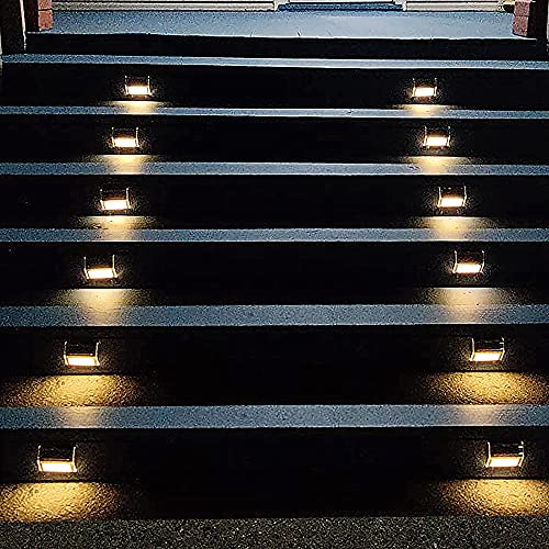 Lightess Solar Lights for Steps Deck Solar Stair Light Outdoor Waterproof Stainless Steel LED Fence Light, 6 Pack, Warm White