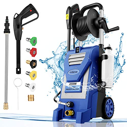 Pressure Washer mrliance 3800PSI Electric Pressure Washer 2000W Power Washer 3.0 GPM High Power Washer Surface Cleaner Machine with Hose Reel & Detergent Tank & 5 Nozzle