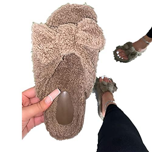 XFBH Zapatos planos de piel sintética para mujer, zapatos de invierno para...