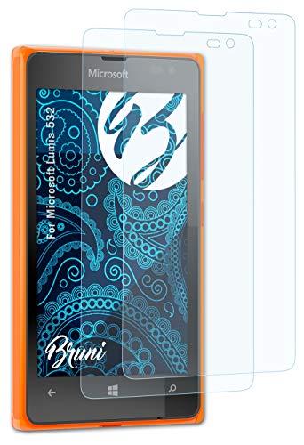 Bruni Schutzfolie kompatibel mit Microsoft Lumia 532 Folie, glasklare Bildschirmschutzfolie (2X)