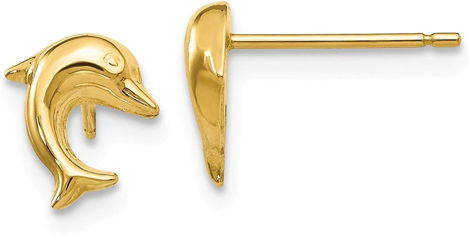 Beautiful Yellow gold 14K Yellowgold 14k Small Dolphin Post Earrings