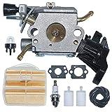 AUMEL C1M-EL37B Carburatore Carburatore con Filtro dell'Aria Kit di Alimentazione della Linea di Alimentazione per Husqvarna 445 445E 450 450E Motosega a Gas Sostituire 506 45 04-01.