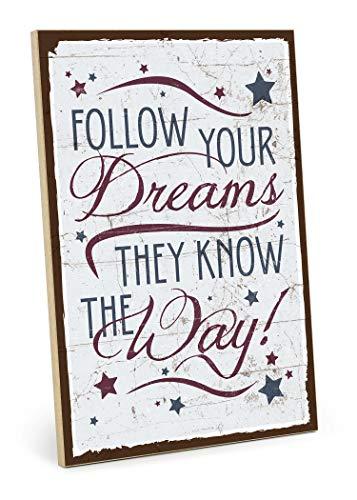 TypeStoff Holzschild mit Spruch – Follow Your Dreams - Shabby chic Retro Vintage Nostalgie deko Typografie-Grafik-Bild bunt im Used-Look aus MDF-Holz (19,5 x 28,2 cm)