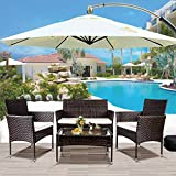 Merax 4 PC Patio Furniture Sets Outdoor Garden Rattan Furniture Sets Cushioned Seat Wicker Sofa, Brown