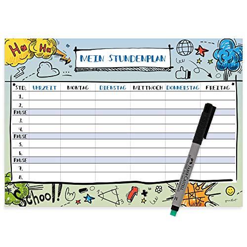 cool I mit Stift I dv/_486 younikat Comic Stundenplan abwischbar I DIN A4 I R/ückseite magnetisch f/ür den K/ühlschrank I Jungen Jungs Teenager