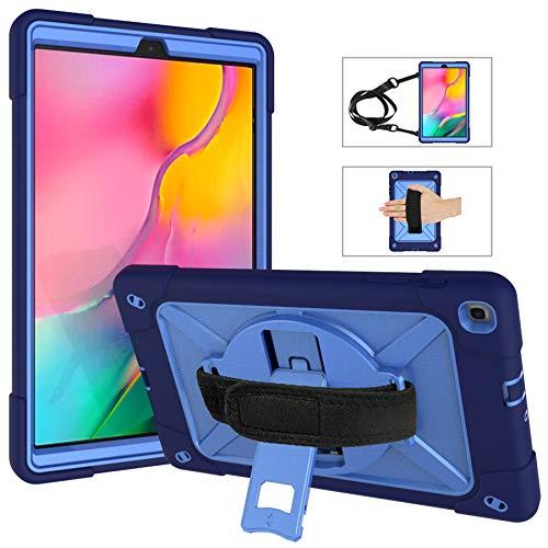 Funda resistente para Samsung Galaxy Tab A 10.1 (2019), funda de transporte con correa para el hombro/correa de mano, rotación de 360 grados con función atril, 3 capas de protección a prueba de golpes para Samsung Galaxy Tab A 10.1 (2019)