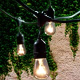 Lemontec Commercial Grade Outdoor String Lights with 15 Hanging Sockets - 48 Ft...