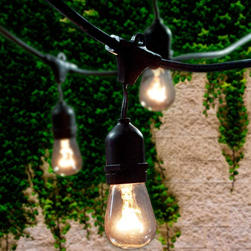 Lemontec Commercial Grade Outdoor String Lights with 15 Hanging Sockets - 48 Ft Black Weatherproof Cord Weatherproof Strand for Patio Garden Porch Backyard Party Deck Yard – S14 Black