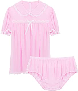 inlzdz Men's Sissy Lingerie Set Frilly Ruffled Chiffon Min Dress Crossdress Babydoll Pajamas